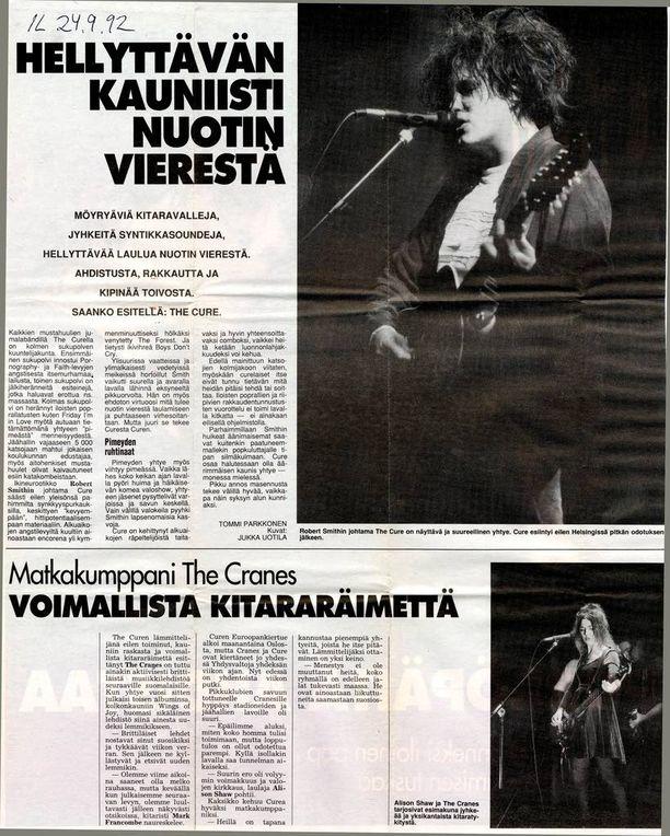 Iltalehden toimittaja Tommi Parkkonen kävi katsomassa The Curen keikan syyskuussa vuonna 1992. Tuolloin lämmittelybändinä oli The Cranes, tänä vuonna skotlantilainen The Twilight Sad.