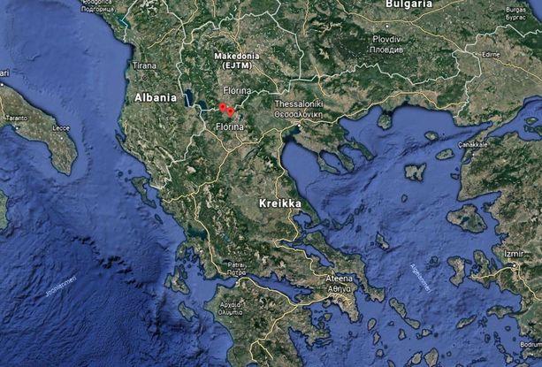 Pakkaslukemat mitattiin Pohjois-Kreikan Flórinassa.