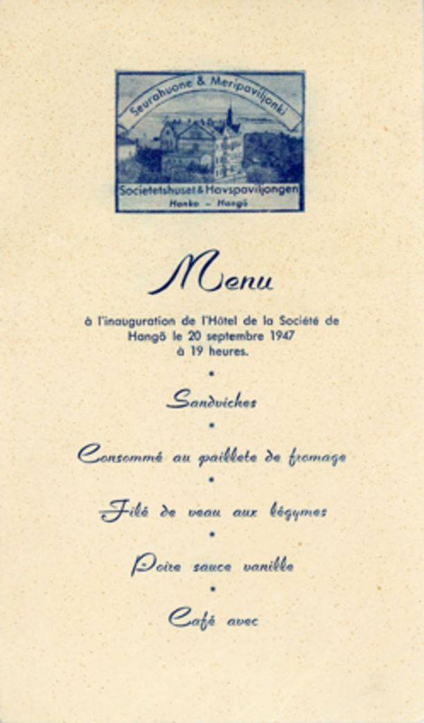 Seurahuoneen menu vuodelta 1947.