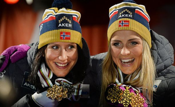 Tämä kuva Marit Björgenistä ja Therese Johaugista Falunin MM-kisoista 2015 on yksi tuoreimmista yhteiskuvista.