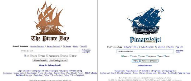Vasemmalla Pirate Bayn oma sivusto ja oikealla TTVK:n uusi piratismia vastaan taisteleva kampanjasivusto.