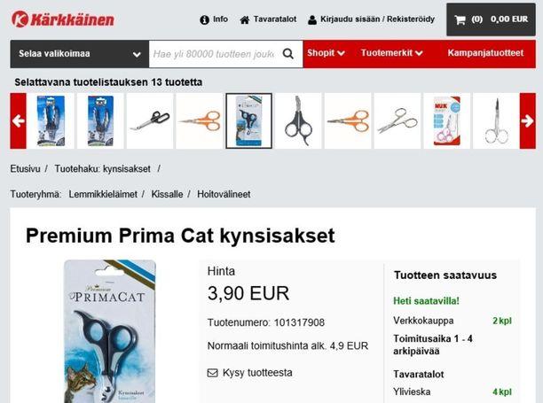 Kärkkäinen kauppaa verkkokaupassaan kissan kynsisaksia.