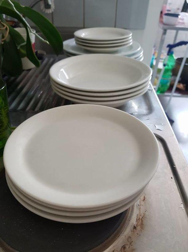 Astioiden joukossa oli kymmenittäin Arabian lautasia.