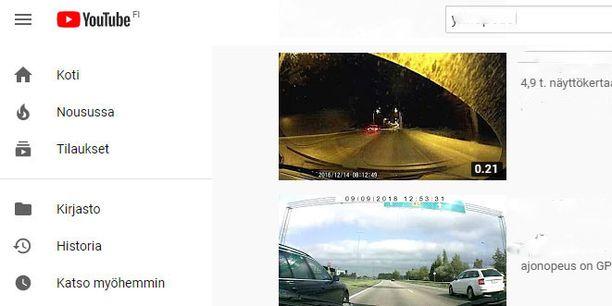 Netin videopalvelut ovat pullollaan liikennetörttöilyvideoita. Kuvituskuva.