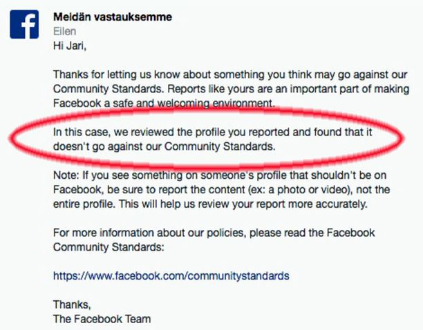 """Facebook totesi, ettei feikiksi ilmoitettu profiili ei ole sen """"yhteisöstandardien vastainen""""."""