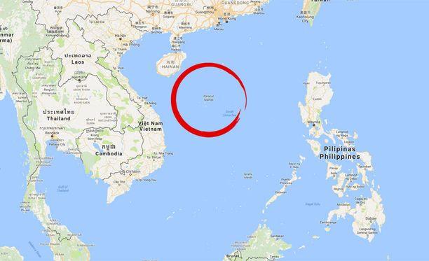 Vene on tuuliajolla lähellä Paracel-saaria Etelä-Kiinan meren pohjoisosassa.
