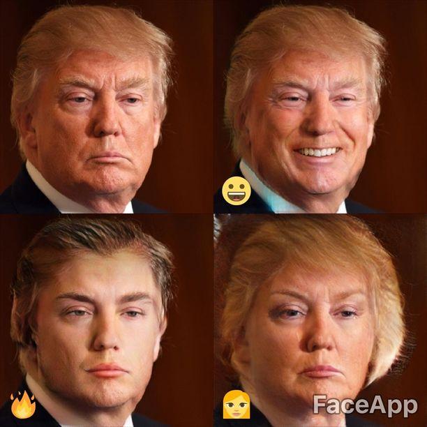 Tältä Trump näyttää Faceappin mielestä hymyilevänä, kuumana ja naisena.