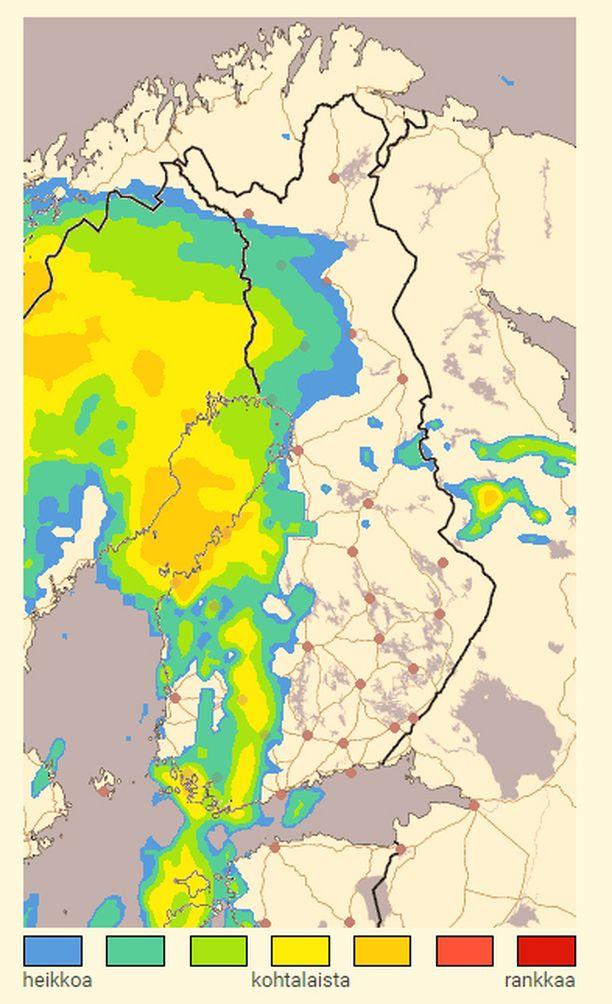 Sadetutka näyttää tilanteen kello 19.