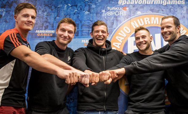 Oliver Helander (vas.), Thomas Röhler, Andreas Hofmann, Johannes Vetter ja Tero Pitkämäki kilpailevat tiistaina Turussa Paavo Nurmi Gamesissa.