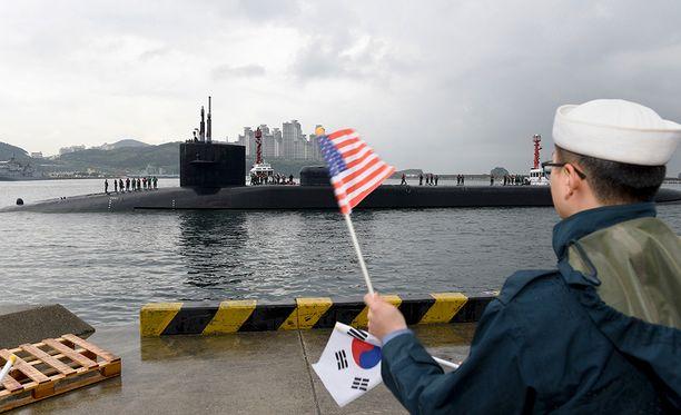 Ydinaseita kantava USA:n Ohio-luokan sukellusvene Busanissa Etelä-Koreassa viime vuoden lopulla.