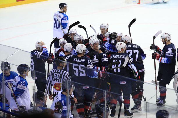 Suomi-USA-ottelu päättyi maanantaina jälkimmäisen juhliin.