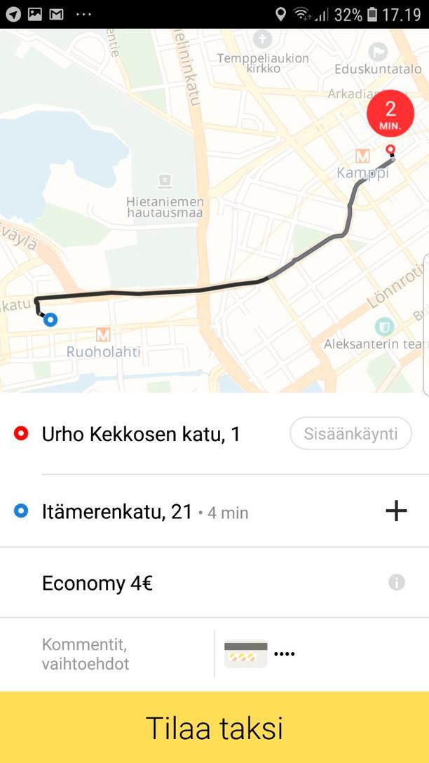 Taksin tilaaminen on yksinkertaista, ja hinta näkyy heti tilausvaiheessa.