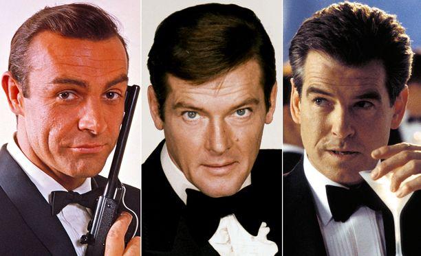 Sean Conneryn, Roger Mooren ja Pierce Brosnanin lisäksi Bondeina nähdään elokuvasarjassa myös George Lazenby ja Timothy Dalton.