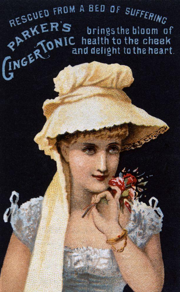 Inkivääristä tehtyä Ginger Tonic -juomaa mainostava kortti vuodelta 1900.
