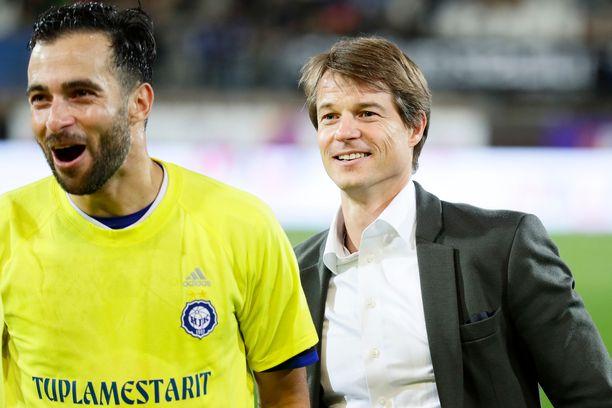 Mika Lehkosuo ja Rafinha ehtivät voittaa paljon HJK:ssa.