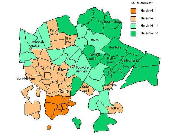 Asuntojen keskihinnat vaihtelevat merkittävästi kalleusalueesta riippuen: Helsinki I 4 673 euroa/neliö, Helsinki II 3 494 euroa/neliö, Helsinki III 2 670 euroa/neliö, Helsinki IV 2 336 euroa/neliö.