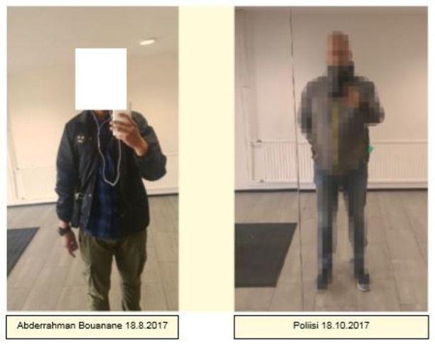 Abderrahman Bouanane otti itsestään peilin kautta kuvan Kaarinassa majapaikkansa rappukäytävässä kello 12.53. Kuva on poliisin esitutkintamateriaalista.