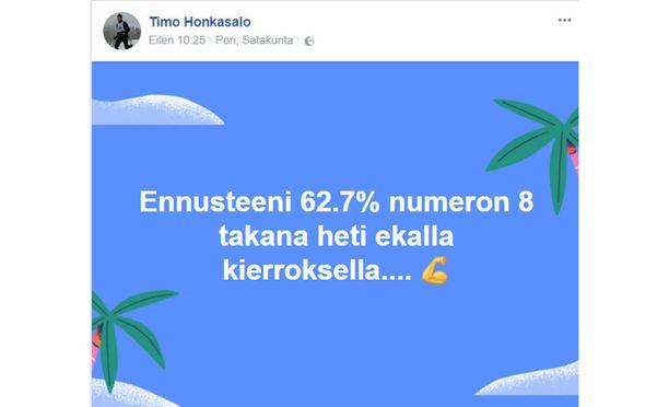 Timo Honkasalo tiesi vaalien oikean tuloksen jo ennen kuin äänet oli laskettu.