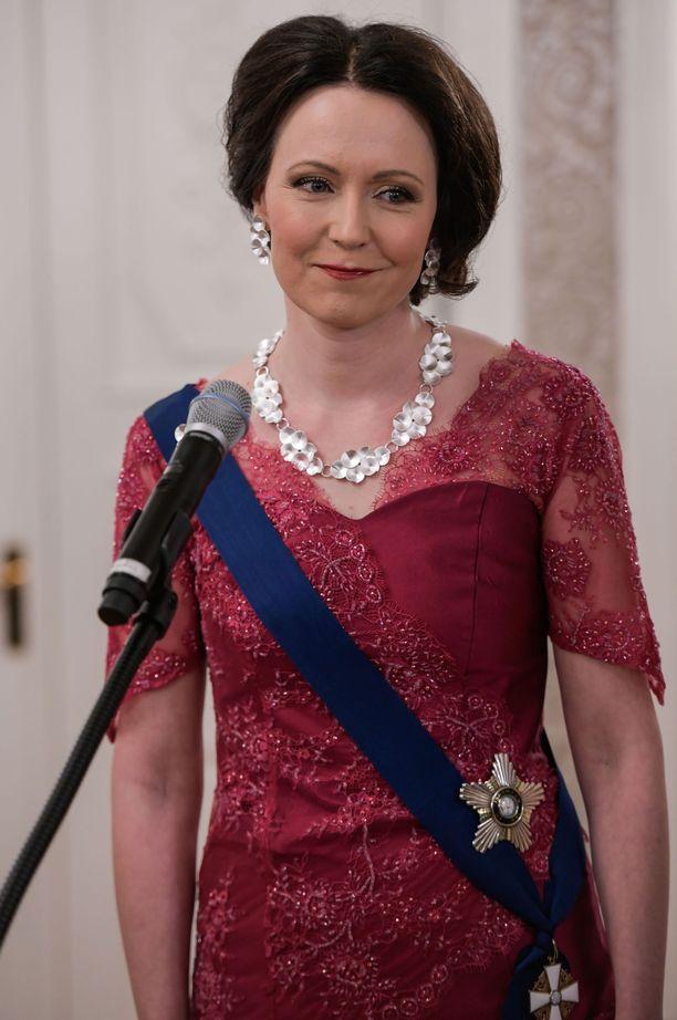 Jenni Haukio Itsenäisyyspäivän juhlavastaanotolla Presidentinlinnassa 6. joulukuuta 2019.