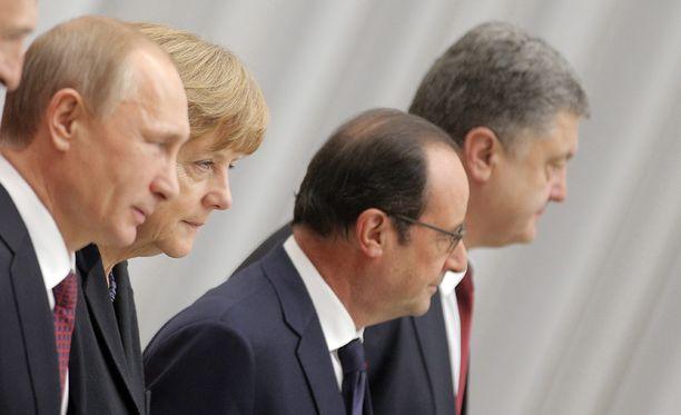 Putin, Merkel, Hollande ja Poroshenko tapasivat viime viikolla Minskissä.