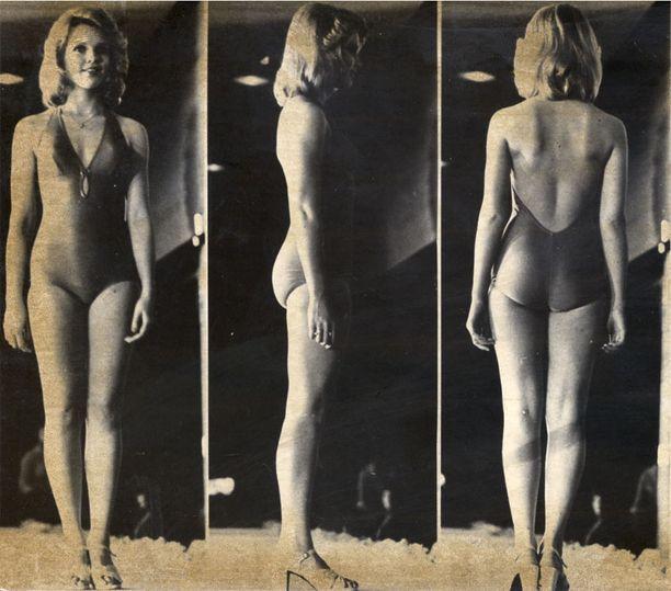 Strategiset kuvat Miss Suomi -kisassa vuonna 1974.