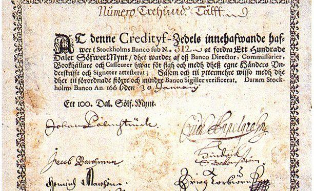 Stockholms Bancon liikkeelle laskema riikintaalerin seteli (1660)