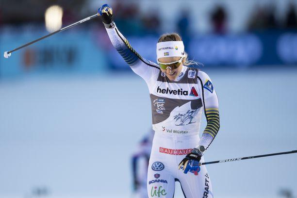 Stina Nilsson oli naisten sprintin ykkönen Dresdenissä.