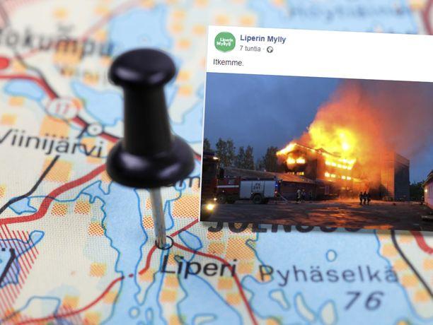 Palo alkoi myöhään yöllä Liperissä Pohjois-Karjalassa, lähellä Joensuuta.
