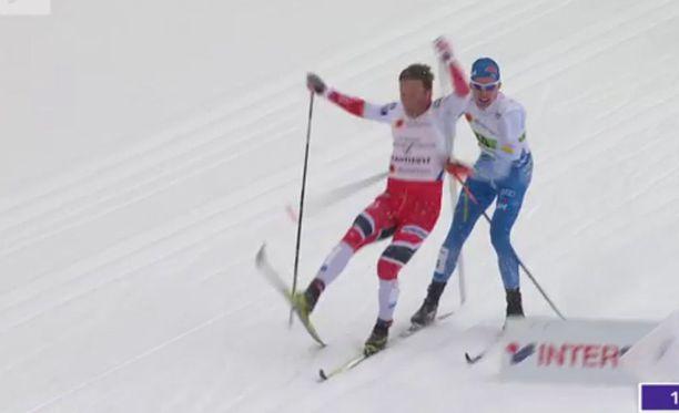 Emil Iversen tuli Iivo Niskasen päälle sunnuntain MM-pariviestissä.