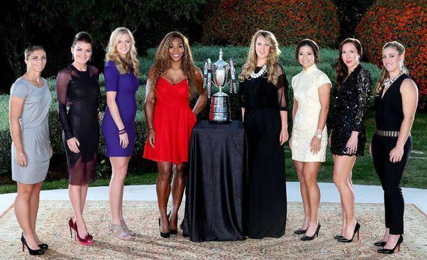 Vasemmalta oikealle: Sara Errani, Agnieszka Radwanska, Petra Kvitova, Serena Williams, Victoria Azarenka, Na Li, Jelana Jankovic ja Angelique Kerber.