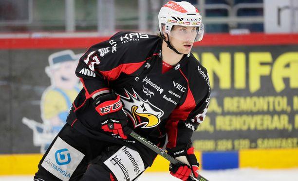Sportin nelosketjulainen Erik Riska on tehnyt tällä kaudella 30 ottelussa tehot 1+6.