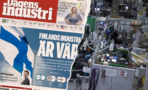"""Ruotsalaislehti Dagens Industri otsikoi näyttävästi, että """"Suomen teollisuus on meidän"""". Ruotsalaiset ovat ostamassa Nelesiä. Kuvassa tehdas, kun Neles oli vielä osa Metsoa huhtikuussa."""