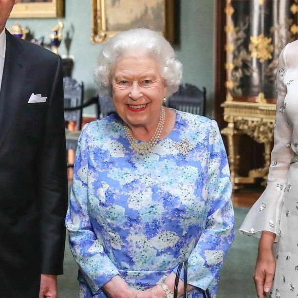 Kuningatar käytti Kanadan lahjoittamaa lumihiutaleen muotoista rintaneulaa myös tavatessaan Belgian kuninkaalliset viime lauantaina.