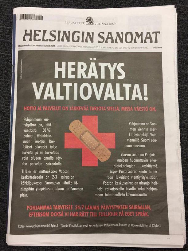 Pohjanmaan maakunnat ja maakuntaliitto julkaisivat jopa Helsingin Sanomien etusivulle marraskuun lopussa vetoomuksen, ettei Vaasa jäisi ilman laajaa ympärivuorokautista päivystystä.