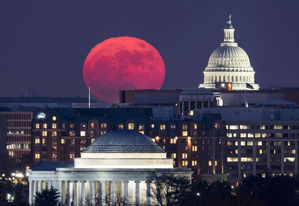 Punaisena hohtava superkuu Yhdysvaltain kongressirakennuksen vieressä Washingtonissa.