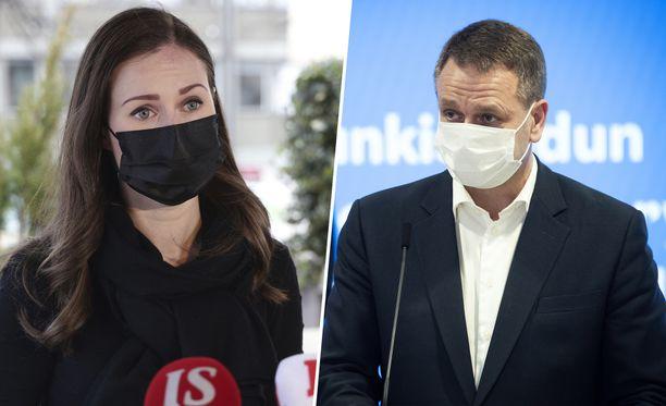 Pääministeri Sanna Marin ja Helsingin pormestari Jan Vapaavuori.