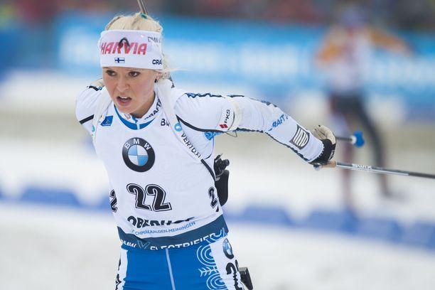 Mari Ederin suksi kulki kuudenneksi nopeinta vauhtia Oberhofin maailmancupin yhteislähtökilpailussa sunnuntaina.