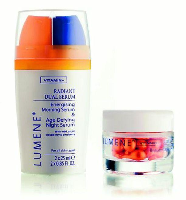 Lumene Radiant C-Energy Drops kauneuskapselit (28 €) sisältävät C-vitamiinia. Kapseleita otetaan yksi päivässä kuukauden ajan silloin, kun iho tuntuu väsyneeltä, himmeältä ja elottomalta.