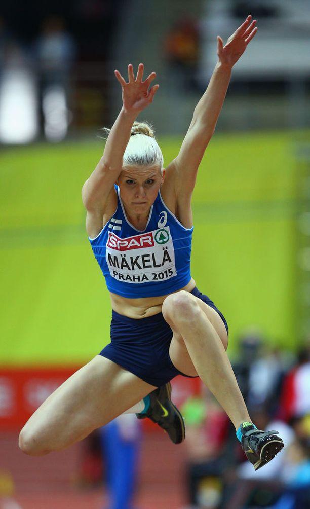 Kristiina Mäkelä loikki tänään Prahassa tuloksen 13,66.