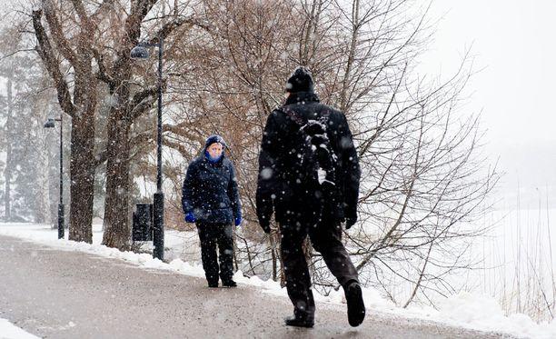 Tällainen oli sää Helsingissä lähes tasan vuosi sitten. Lunta on luvassa myös täksi viikonlopuksi etelää myöten.
