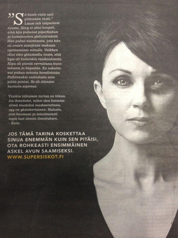 """Tämä mainos julkaistiin muun muassa Helsingin Sanomissa. Katariina Sourin mukaan hänen hyväksymässään mainoksessa oli lause """"Tämä tarina ei ole minun""""."""