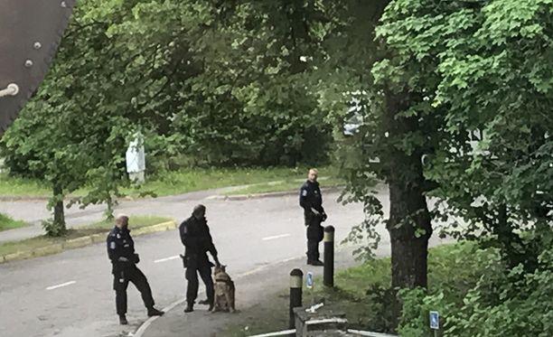 Poliisioperaatio herätti uteliaiden huomion Heinolassa.