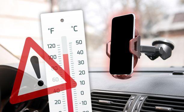 Autossa lämpö nousee aurinkoisella ilmalla nopeasti.