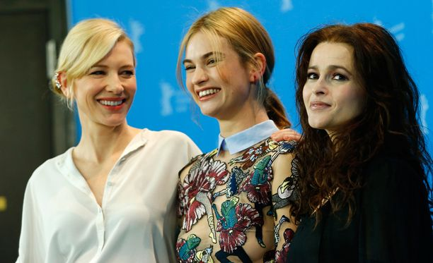 Cate Blanchett, Lily James ja Helena Bonham Carter Berliinin elokuvajuhlilla.