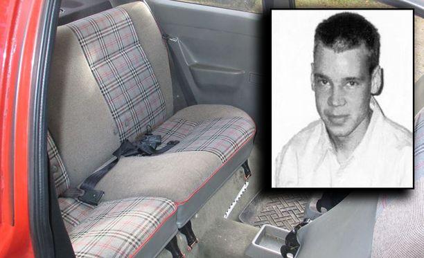 Vuonna 2005 kadonnut Jari Pesonen kuristettiin hengiltä tällä takapenkillä.