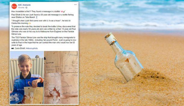 Paul Gilmoren 50 vuotta sitten kirjoittama viesti huuhtoutui rantaan Australiassa.