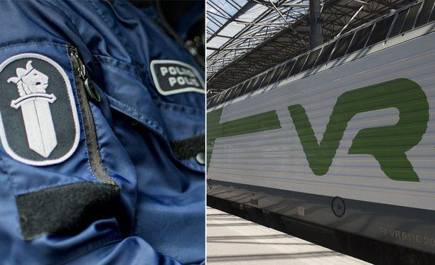 Poliisi tiedottaa poistaneensa Riihimäellä paikallisjunasta kaksi häiritsevästi käyttäytynyttä ihmistä.