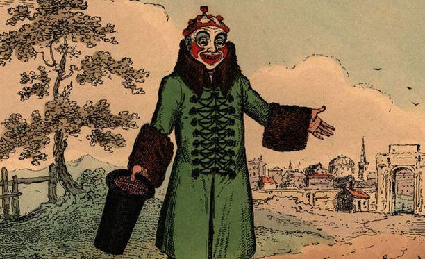 Pantomiimikko Joseph Grimaldin kuvituskuva surullisesta klovnista vuodelta 1815.