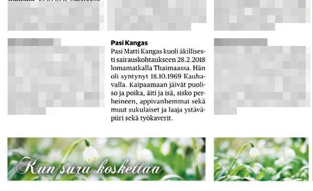 Pasi Kankaan kuolemasta kerrottiin Ilkka-lehden Kuolleet-palstalla lauantaina.