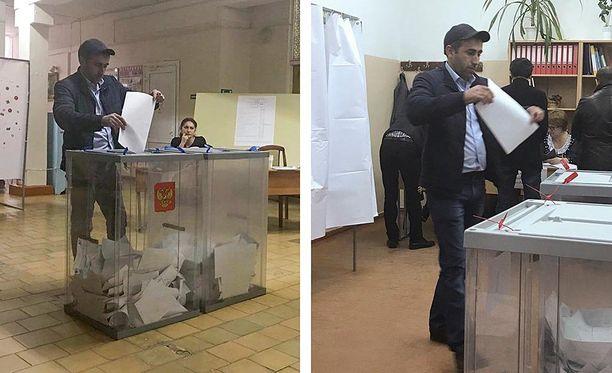 Vaalivirkailijan selitys oli, että kuvissa on identtiset kaksoset. Heillä näyttää olevan myös samanlainen vaatemaku.